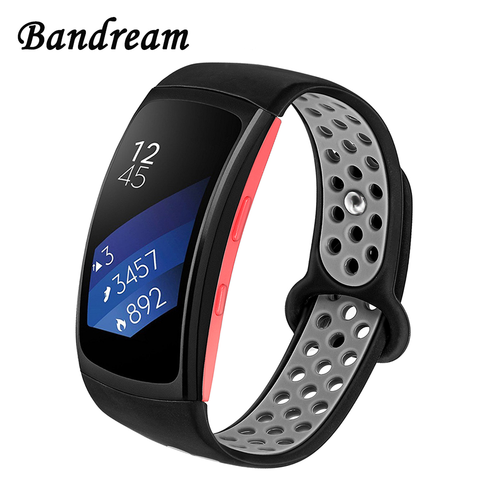 Upgraded Silicone Rubber Watchband Double Color for Samsung Gear Fit 2 R360 / Fit2 Pro R365 Smart Watch Band Steel Clasp Strap smart watch charger for samsung gear fit 2 pro usb charging cradle dock for fit2 watch charge cable for sm r360 fit2 pro r365