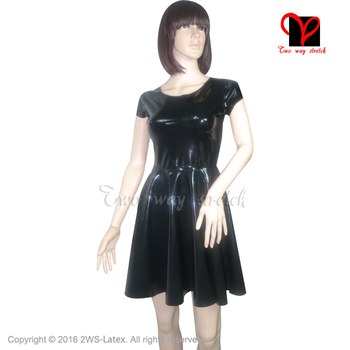 Black Sexy Swing Skater Latex Dress short sleeves Rubber flare tail baby doll Playsuit Bodycon plus size clothing XXXL QZ 058