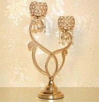 Роскошные Золотой подсвечник новый аромат масла горелки европейского кристалл покрытие 2 головки металлический подсвечник для свадьбы Дом