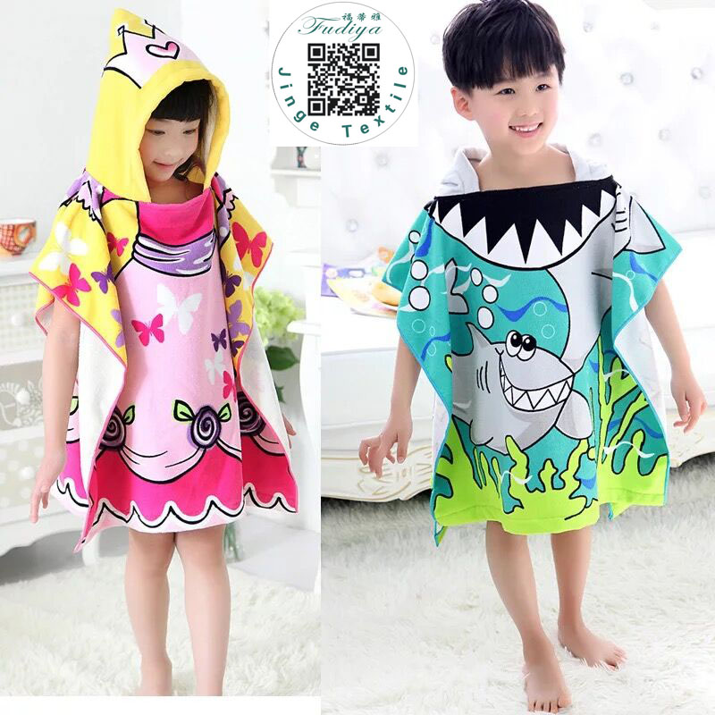 Towels Mother & Kids Infrant Baby Formaldehyde-free Baby Cartoon Print Bath Boy Washcloth Children Bathrobes Hooded Cotton Girl Towel