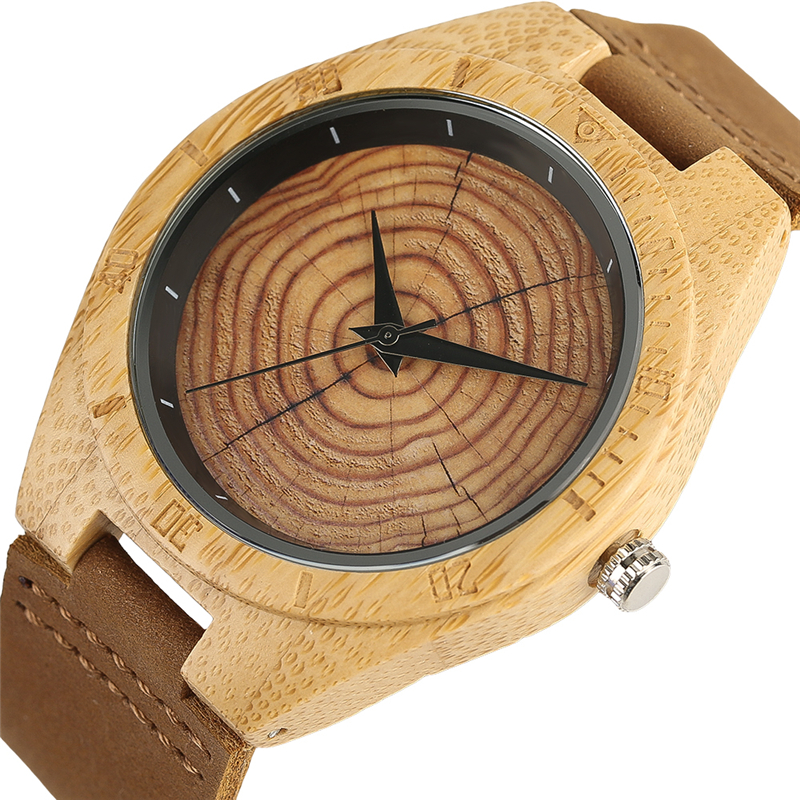 Novel Crack Annual rings Pattern Bamboo Watch Men Women Quartz Fashion Handmade Wooden Watch Genuine Leather Wristwatch Gifts