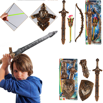 Children Toys Classical Rome King Cosplay Mini Corssbow Sword Bow Arrow Shield Weapon Kids Gift Plastic SwordsToy