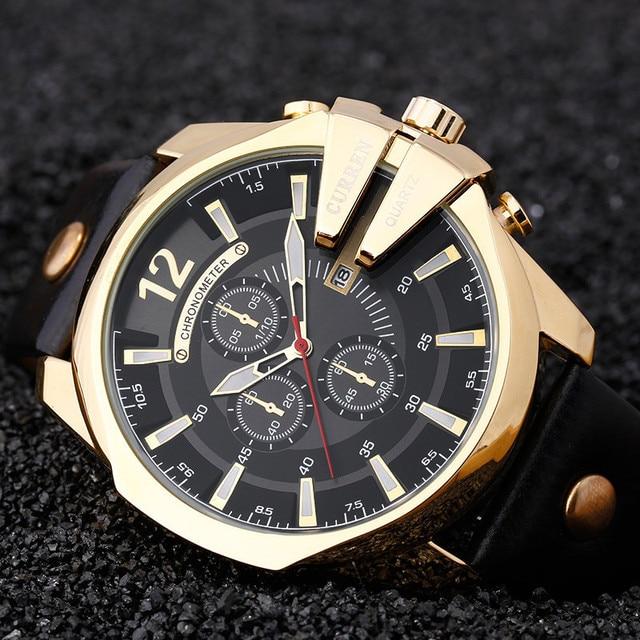 4bbaf760017 Curren 8176 Homens Relógios Top Marca de Luxo de Ouro Masculino Relógio  Pulseira de Couro de