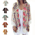 6 Colors 2016 New European Fringed Hem Lace Women Floral Printed Oversized Cape Kimono Cardigan Summer