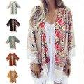 6 Cores 2016 Nova Europeu Franjada Hem Lace Mulheres Floral Impresso Capa de Grandes Dimensões Cardigan Quimono de Verão