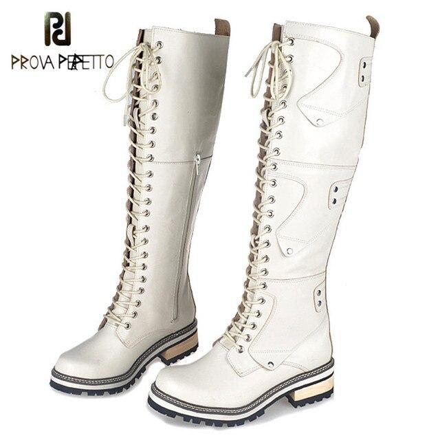 Prova Perfetto England Preppy Style Winter Add Wool Keep Warm Women Knee-High Boots Round Toe Elegant Wear Well Knight Boots