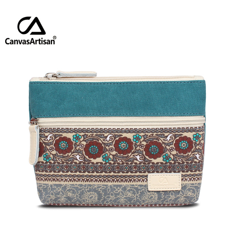 Canvasartisan Brand Womens Canvas Retro Floral Small Change Coin Purse Clutches Bag Female Key Card Pouch Money Coin Holder Bags