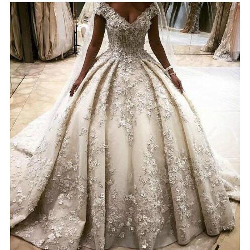 Noiva Mariage Arabe Robes Moyen Dubaï Mariée Style Applique orient 2018 Dentelle Blanc Casamento Luxueux Bal Robe De Hqn60If