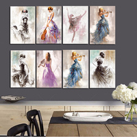 Ballet Dance Girl Portrait Oil Painting on Canvas Posters and Prints Modern Scandinavian Nordic Wall Art Picture for Girl Room