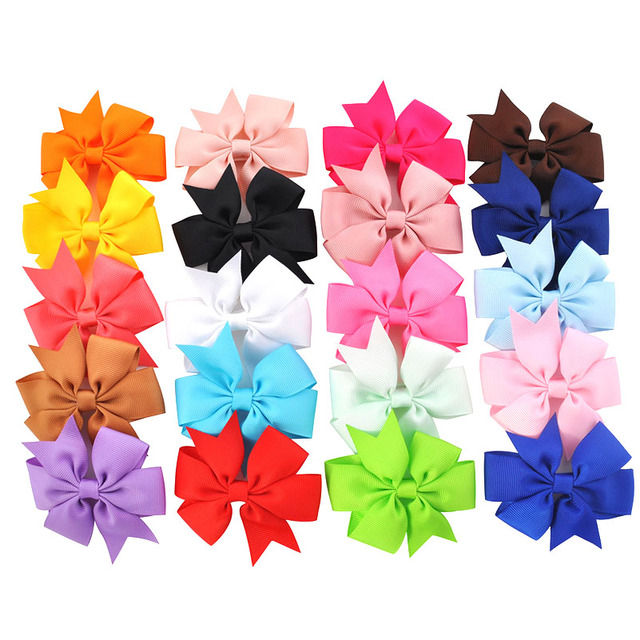 New 3 Inch Cute Hair Bows Boutique Fashion Mini Hair Clips for Girls Princess Ribbon Solid Bowknot Children Hair Accessories