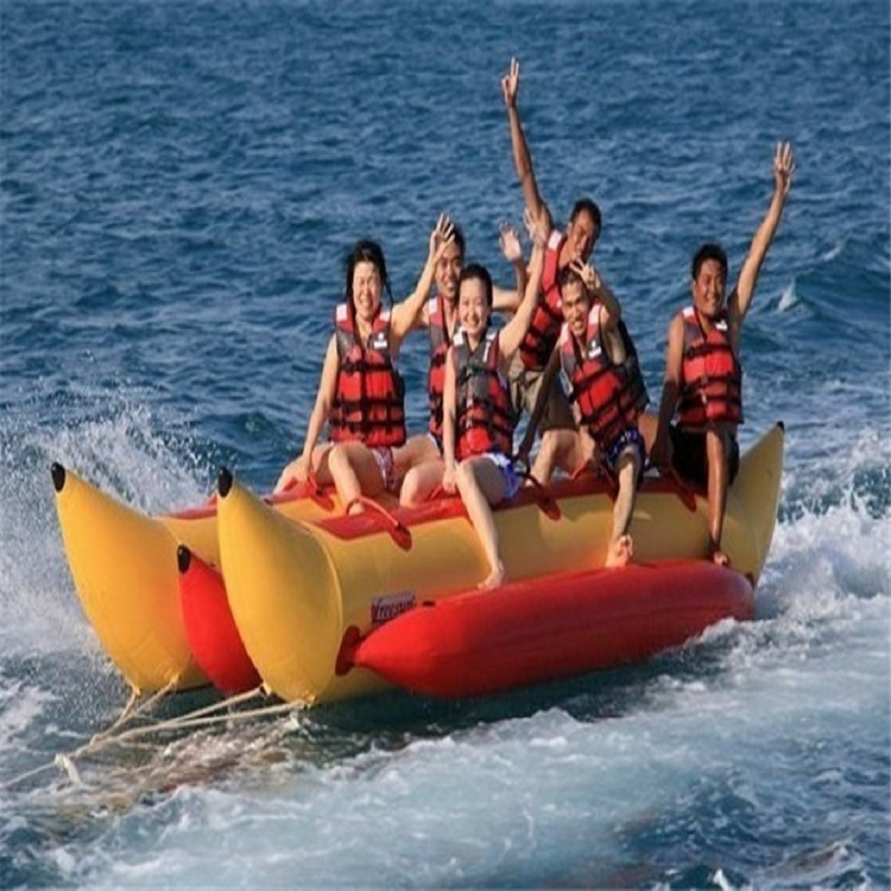 Надувная лодка банан 6 человек играя на пляже surf езда воды игра игрушки