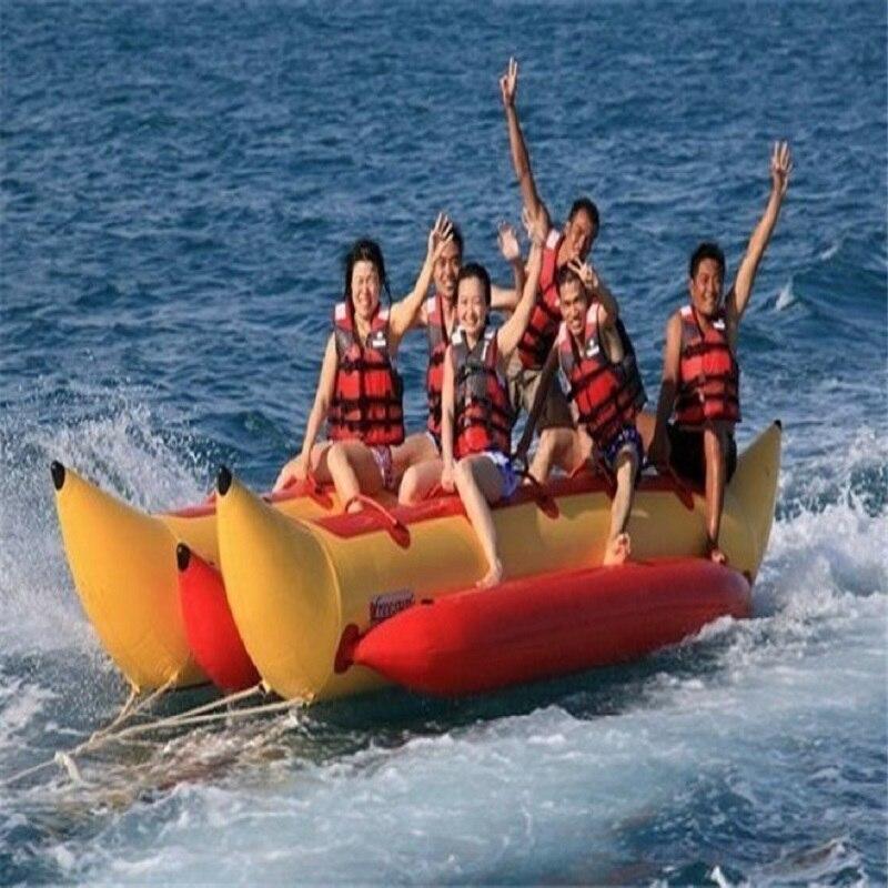 Barco de plátano inflable 6 personas jugando en la playa surf montar el agua juguetes de agua juego