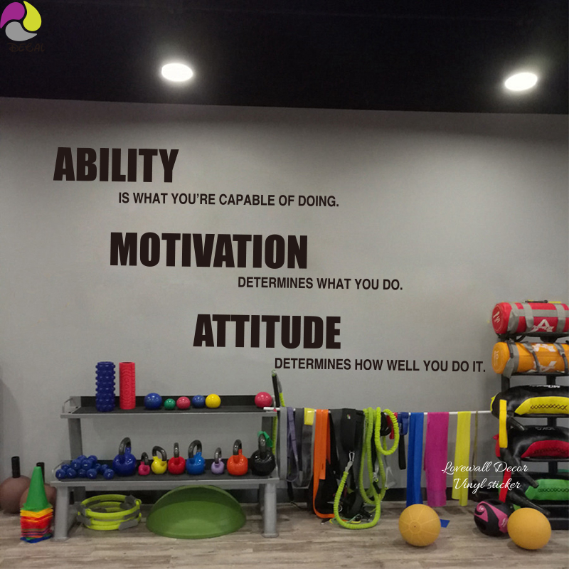 Ability Motivation Attitude Quote Wall Sticker 198cmx99cm Gym Office Fitness Saying Wall Decal Exercise You Do Quote Vinyl Decor