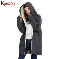 נשים מעיל החורף סלעית פליס רוכסן מוצק Femele נופל קטיפה עבה ארוך כותנה להאריך ימים יותר מעיל רוח מעילי נשים מעילים T412