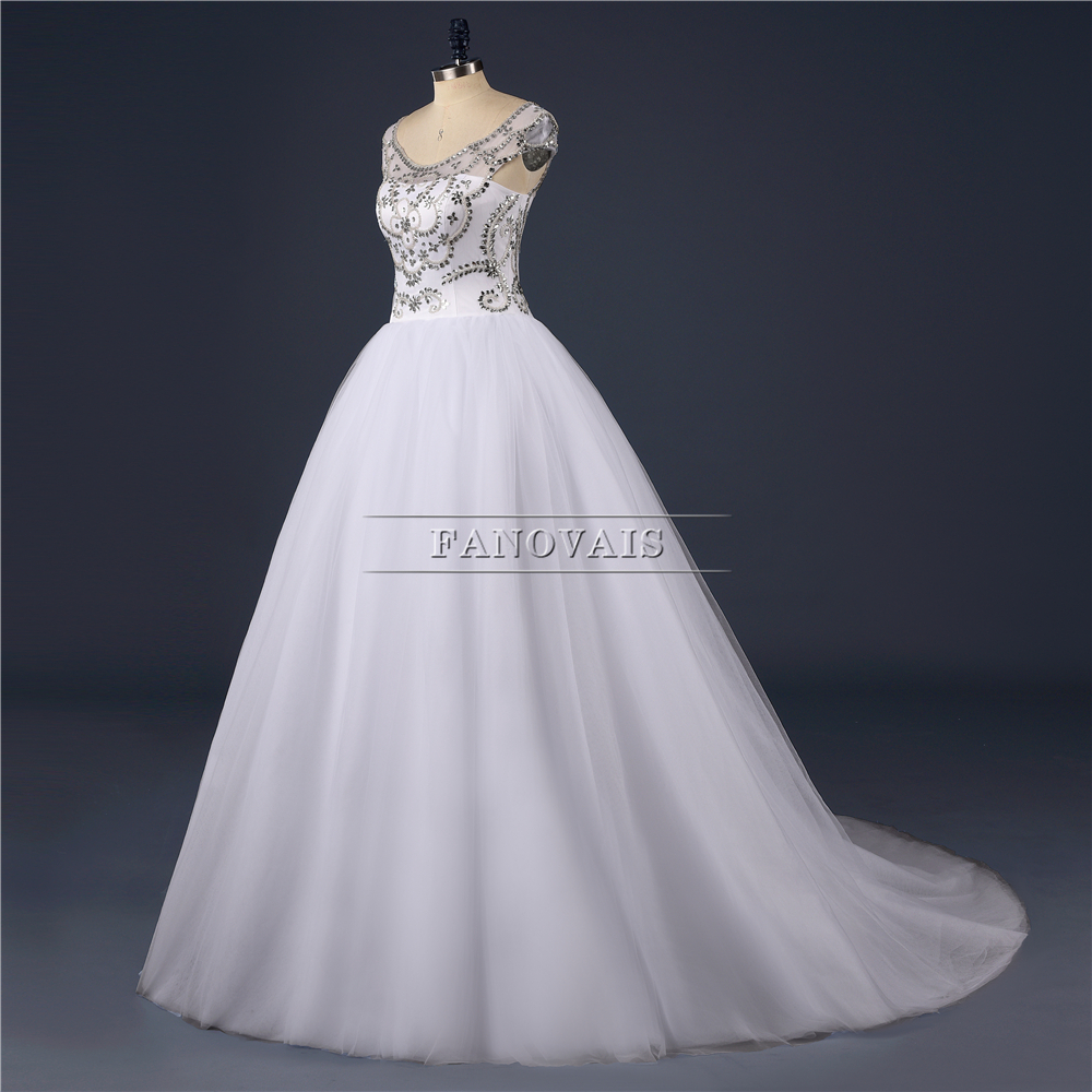 Real Picture Heavy Crystal Top Scoop Tulle Short Sleeves Ball Gown ...