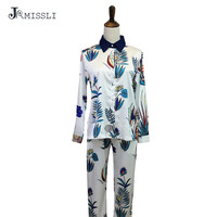 JRMISSLI 2017 Womens Silk Satin Pajamas Sets Casual Sleepwear Long Sleeve Nightgowns Long Pants Sleepwear Pajamas