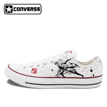 Converse Men Shoes Anime Gintama Hand Painted Canvas Sneakers Original Design Skateboarding Shoes Low Top All