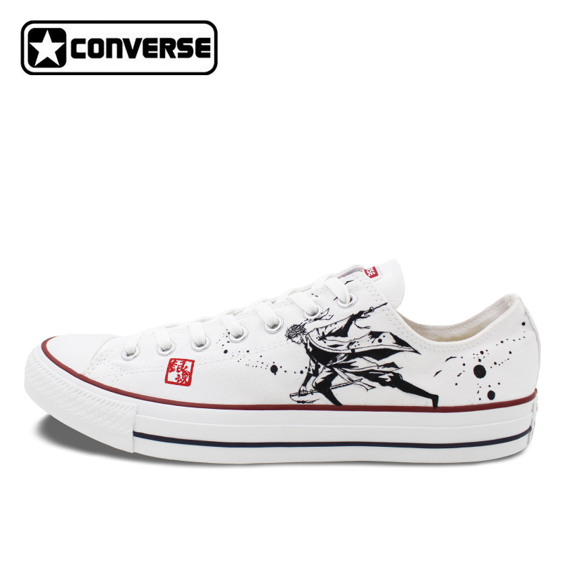 Converse font b Men b font font b Shoes b font Anime Gintama Hand Painted Canvas