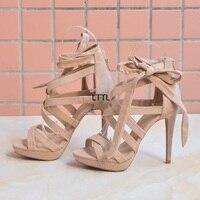 Classy Nude Rope Style Thin High Heels Sandals Fancy Women Cross Strap Lace Up Stiletto Heel