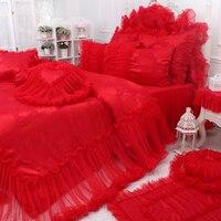 Домашний Текстиль кружевной дизайн свадебные украшения красный пододеяльник наборы наволочка простыня кровать юбка 4 шт. Королева Король Р