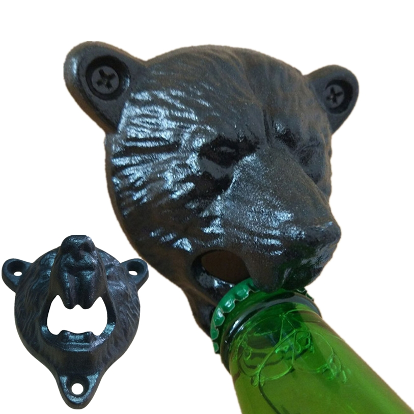 Vintage Bear Wall Bottle Opener 1PC Cast Iron Beer Soda Bottle Opener Kitchen Gadgets Dining Bar