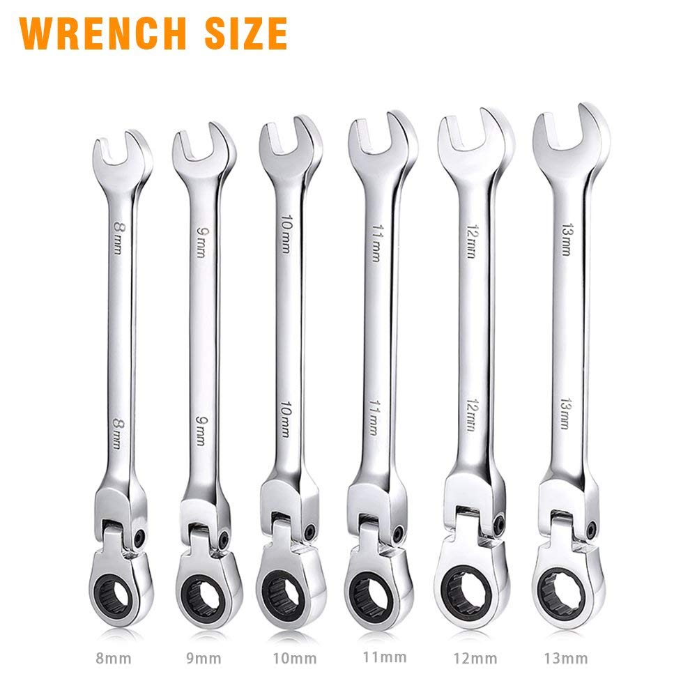 16 mm 8 mm 9-Piece Flex Ratcheting Combination Wrench Set Metric