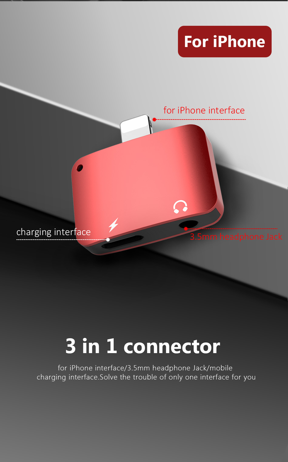 !ACCEZZ Headphone Charge Adapter For iPhone Lighting 7 8 XR XS MAX 3.5mm Jack Earphone AUX Charger Listening Converter Connector (6)