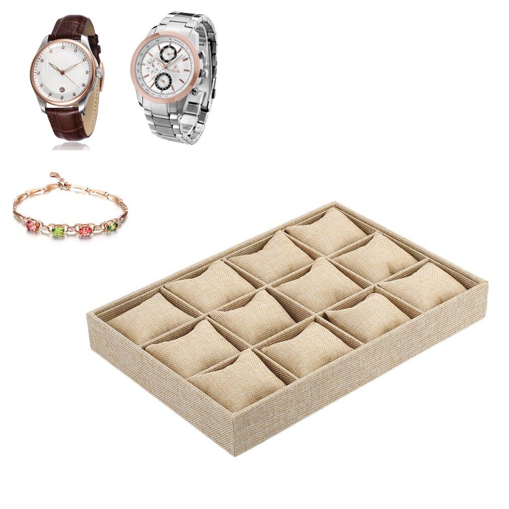 12 Slots Kissen Uhr Boxen Armband Display Licht Gelb Sackleinen Uhren Lagerung Display Tray Halter Verpackung Organizer Für Männer