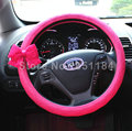 Cute Women Bowknot PU Leather Grip Car Steering Wheel Covers 15 inch 38CM Retail and Wholesale - Rose