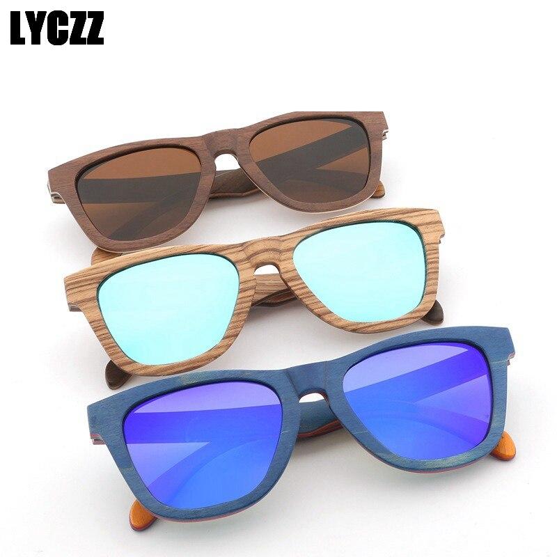 LYCZZ nouveau Vintage carré lunettes de soleil polarisées femmes marque bambou lunettes de soleil en bois hommes nuances pilote lunettes UV400 gafas de sol