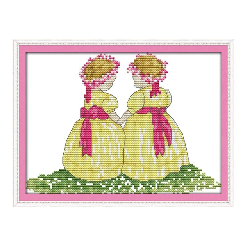 JoySunday Chinese Crossstitch Yellow Skirt Sister Kid Toy DMC14CT11CT Needlework Livingroom Bedroom Baby Room Painting Wholesale