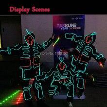DIY moda pokaz talentów taśmy LED Light-up odzież garnitury LED Luminous kostiumy podświetlane świecące z kapturem dla festiwalu Party