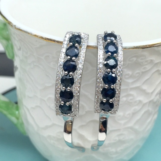 earrings natural dark blue sapphire gemstone solid 925 silver gemstone earrings for woman silver earring