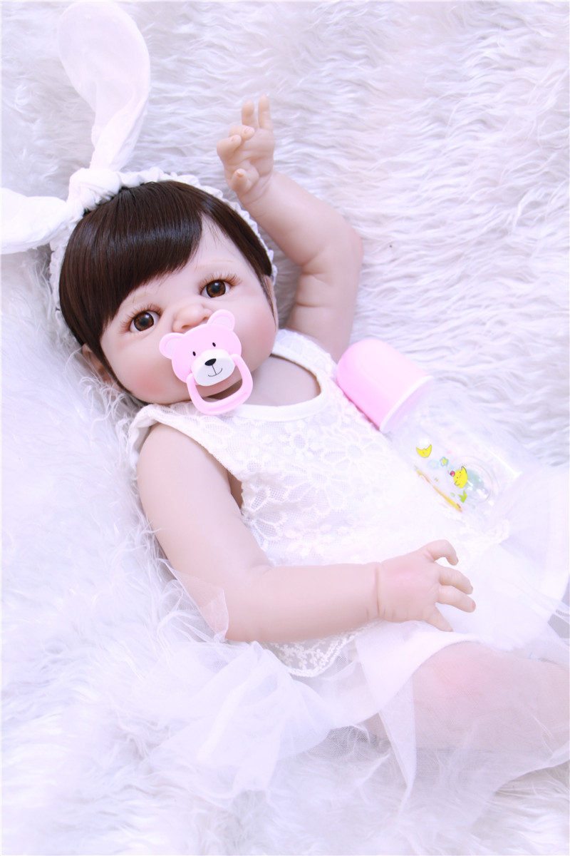 22 real full silicone dolls reborn white dress princess bebe girl reborn can enter water  bath dolls for kids gift bonecas22 real full silicone dolls reborn white dress princess bebe girl reborn can enter water  bath dolls for kids gift bonecas