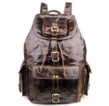 Maxdo Vintage Large Capacity Genuine Leather Unisex Men Backpacks Travel Bags Cowhide Women Backpack #M7268