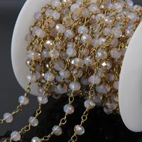 5Meter Titanium Champagne Glass Beads Rondelle Rosary Chains Brass Wire Wrapped Chain Bracelet Necklace Jewelry Making