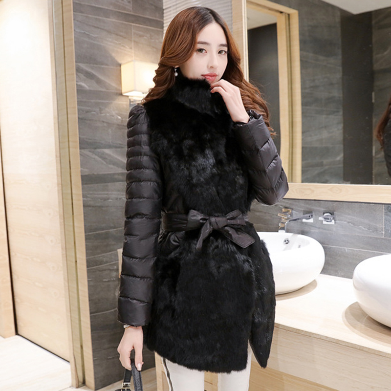 2018 De Automne Noir Épais Assortie Splice Veste Lf571 Manteau Nouveau Vêtements Chaud Long Lapin Coton Fourrure Pardessus Mince gris Ceinture Hiver xAwqx