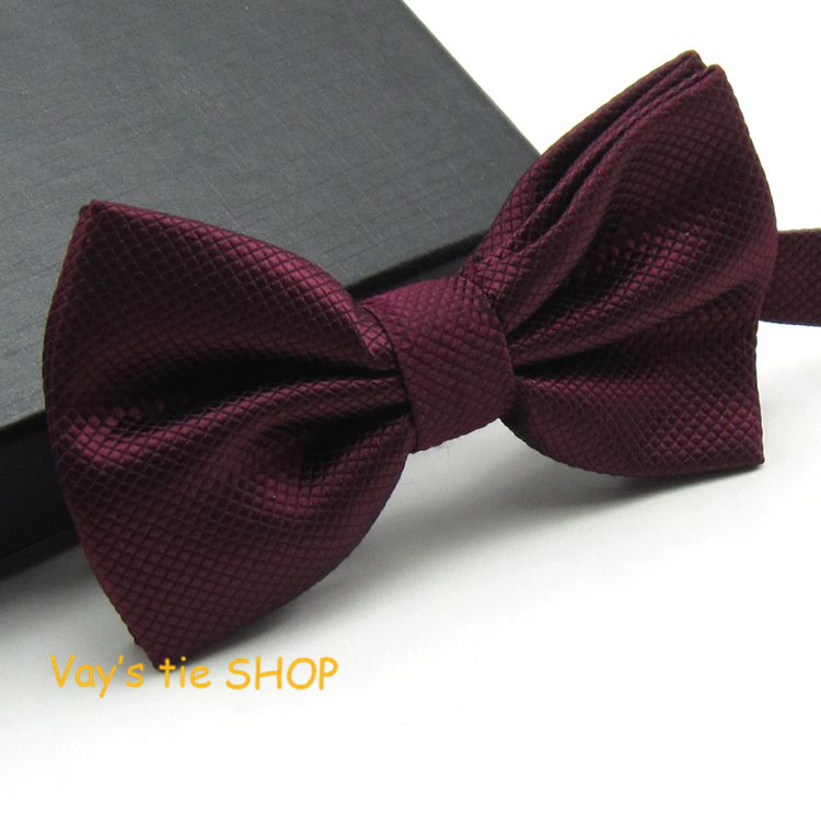 2018 New XMAS Gift Mens Fashion Dull Jacquard Plaid Grid Leisure Solid Bowtie Wedding Tuxedo Bow Ties Freeshipping Dark Red 12cm
