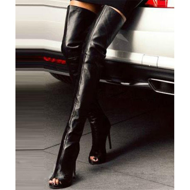 985944a50df Hot Selling Women Fashion Open Toe Black Leather Over Knee High Heel  Stiletto Boots Sexy Party Thigh High Gladiator Long Boots