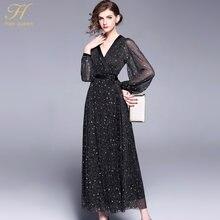 fec42dde285 H Han Reine 2018 Printemps Nouveau Femmes Robe De Mode V-cou Élégant  Travail Casual Slim Vintage Noir paillettes Parti Maxi Robe.
