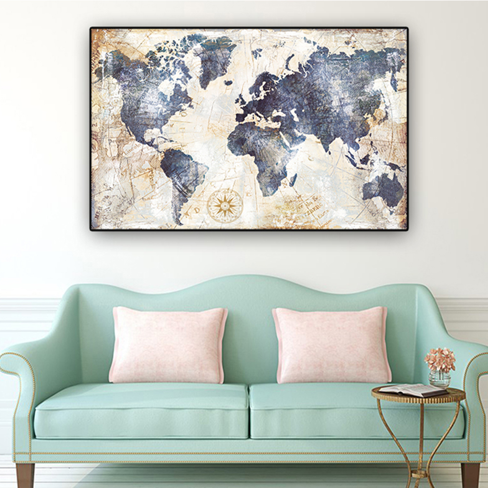 Unframed Art Canvas Painting World Map Giclee Wall Decor Prints Wall Picture For Living Room Wall Art Decoration Dropshipping