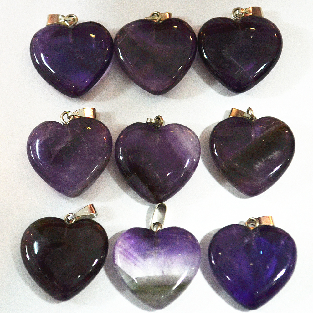 2018 Hot Selling Good Quality Fashion Natural Amethysts Purple Crystal Quartz Stone Heart Pendants 24pcs Wholesale Free Shipping