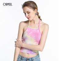 ORMELL Sexy Strappy Women Crop Tops 2017 Hot Lady Summer Halter Tanks Camis Fashion Girl Backless