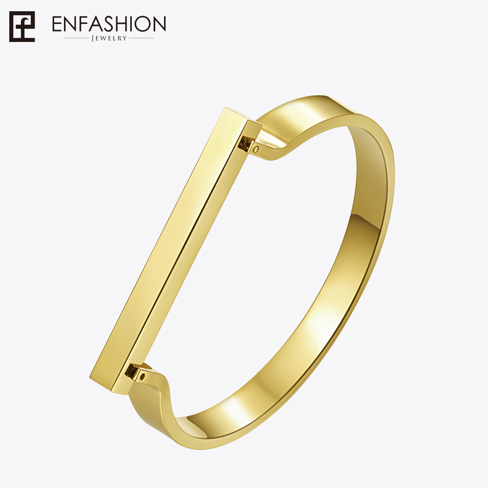 Enfashion Personalized Custom Engrave Name Flat Bar Cuff Bracelet Gold Color Bangle Bracelets For Women Bracelets Bangles duoying 40 4 mm bar bracelets rope custom name bracelet personalize string bracelet friendship family bracelets jewelry for etsy