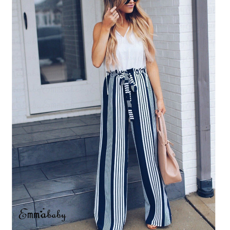 Summer Fashion women High waist casual pants 2018 wide leg pants Loose belt Striped pants trousers