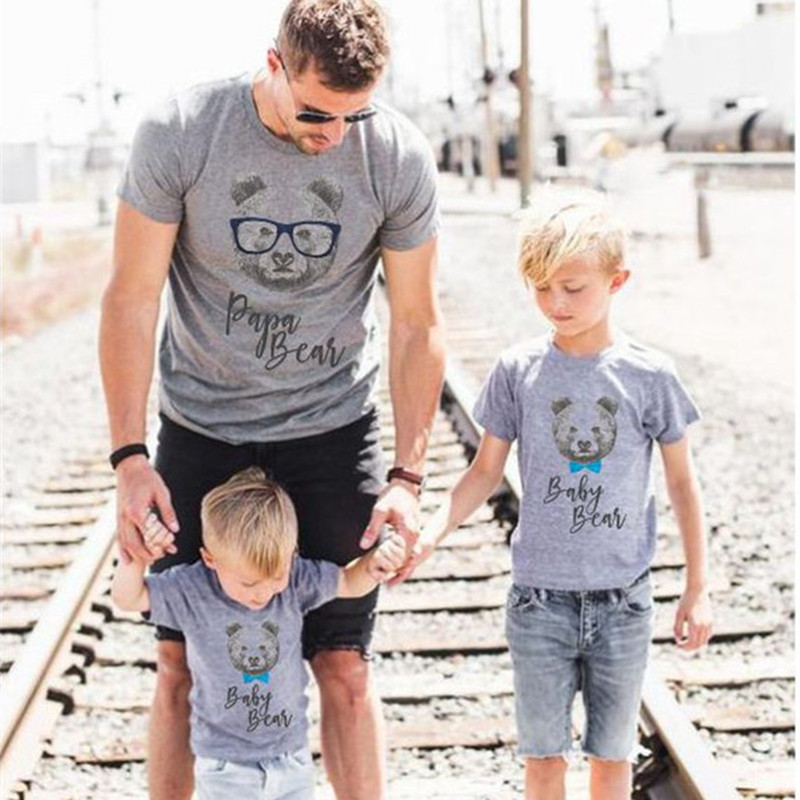Mother Father Kid Family Matching Outfits Short Sleeves Parent Child Clothes MAMA PAPA BABY BEAR Printed Summer T-shirt Tops