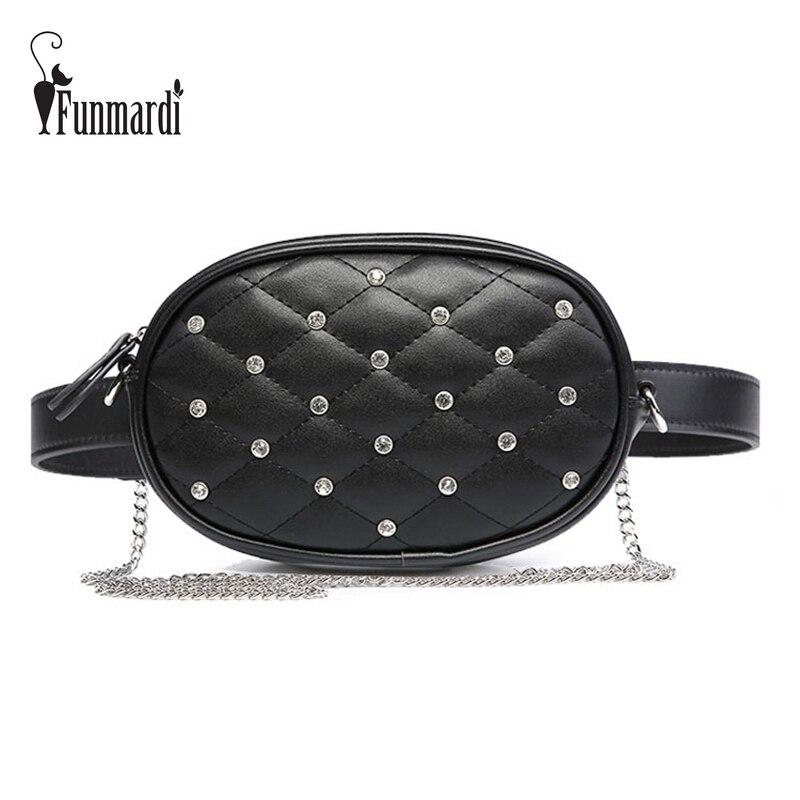 FUNMARDI Diamond Design Waist Bags Quilted Waist Packs Luxury PU Leather Shoulder Bag Brand Chain Women Bag Velvet bag WLHB1741B lemon design chain bag