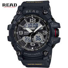 READ StopWatch large Wrist Watches men Army Military Silicone for black Relogio Masculino digital design electronic Alarm hours