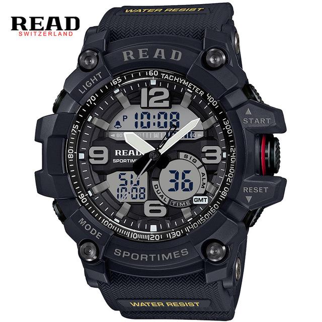 Read muñeca de silicona relojes para hombre del ejército militar de cuarzo relogio masculino blanco de diseño digital despertador electrónico ronda