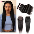Brazilian Straight With Closure 7A Brazilian Virgin Hair With Closure Alipearl Brazilian Straight Hair Bundle Deals With Closure